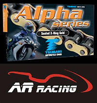 TSUBAKI ALPHA X RING GOLD MOTORCYCLE DRIVE CHAIN 525 PITCH 120 LINKS