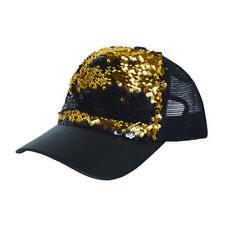 Sequin Baseball Trucker Cap Reversible (Black/Gold)