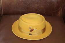 Beaver Brand Wool Porkpie Hat. Size: 7 1/8. Color: Dijon. Crown: 3.5 in.