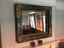 Mirror Large rustic reclaimed wood Mirror Bespoke Service Available Dark oak wax