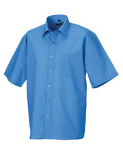 Russell Collection Men's Short Sleeve Polycotton Easy Care Formal Shirt 15.5 Corporate Blue