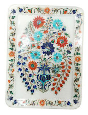 """13""""x10"""" Marble Serving Tray Plate Multi Stone Floral Inlay Kitchen Arts Gifts"""