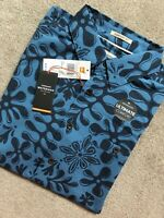 "QUIKSILVER WATERMAN COLLECTION BLUE ""TIKI INDA"" S/S SHIRT  - SMALL - NEW & TAGS"