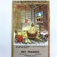 Ink Blotter Trade Card Paul Webb Mountain Boys Cartoon 1940s Brown Bigelow Vtg