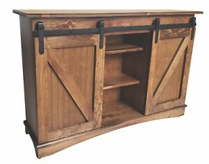 Special Walnut Pine Mission TV  Stand from the Woodcraft Barn Door Collection