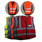 Hi-Vis Safety Vest With Zipper Reflective Jacket  5 Pockets Security Waistcoat