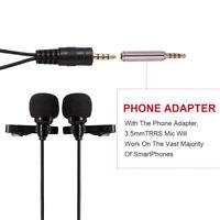 Dual Head Lavalier Condenser Audio Recording Mic for Phone Canon DSLR Recorder