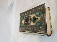 """Hebrew Siddur Prayer Book ca. 1960 Silver Plated Turquoise Colored elements 5"""""""