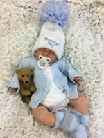 BEAUTIFUL NEWBORN REBORN BABY BOY BOBBLE HAT CARDI MUMMYS BOY S