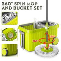 Upgraded Microfiber Spinning 360° Rotating Mop Bucket 2 Head Floor Cleaning US