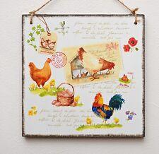 PLACCA Decorativa VINTAGE/Immagine Fattoria pollo, uova, galline, Rooster