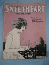Sweetheart Fox Trot Song Sheet Music Vintage 1921 Arnold Johnson Benny Davis (O)