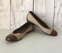 COLE HANN Womens  Brown Leather Tan Canvas Slip on Flats Casual Shoes 6.5 B