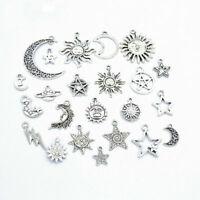 23 pcs Mixed Star Moon Sun Planet Charm Tibet Silver Pendant Bracelet Beads Lots