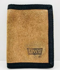 Levis Wallet RARE Vintage Brown Suede Leather Tri Fold Excellent Condition