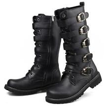 L Mens Knee High Boots Zip Round toe Buckle Straps Motorcycle Combat Shoes Punk