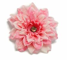"Silk Flower Hair Clip 6"" Dahlia Pink Damask Grey Crystal Center UpDo Dance Prom"