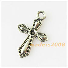 25 New Sword Cross Tibetan Silver Tone Charms Pendants 12x19mm