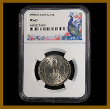 British India 1 Rupee, 1950 (B) Bombay NGC MS 63 Ashoka Lion