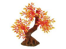 Bonsai Tree on Rock with Orange Leaves Aquarium Ornament Terrarium Decoration