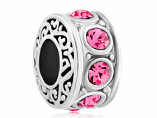Pugster Silver Plated Rose Pink Birthstone Filigree Charm Bracelet Spacers---NEW