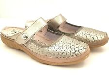 Spring Step Womens Size 10 Tirrana Gold Leather Slip On Comfort Sandals Shoes