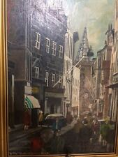 Fine Art Original Oil Painting French Street Fashionable 1960's Scene Signed