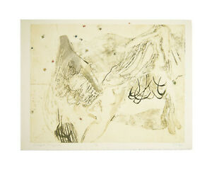 """Walter Sorge Signed """"Winged Figure"""" Abstract Color Etching and Aquatint"""