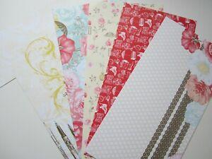 Stampin up Papier gebr. romantisch Feder Rosen rosa gelb rot