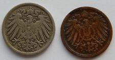 """1892F Germany 1 Pfennig KM#10 & 1900A 5 Pfennig KM#11 Coins """"Lot of 2"""" SB5453"""