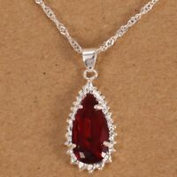 925 Silver Women Natural Ruby Drop Necklace Pendant with Chain Fashion Jewelry
