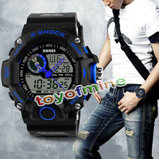 Bleu Etanche LED Digital Alarm Date Wrist Watch Mens  Sport Analog Watch