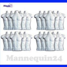 20 White Mannequin Male Torsos with 20 Hangers - Men Hanging Dress Body Forms