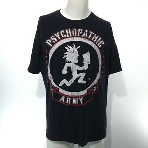 Men's Black Short Sleeve ICP PSYCHOPATHIC ARMY Graphic T-Shirt Size XL Anvil