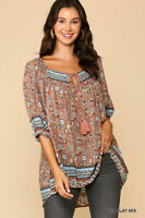 GIGIO By UMGEE Paisley Border Printed Front Tie Tunic Top with Hi-Low Hem Size M