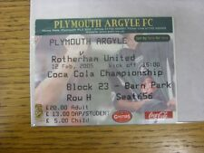 12/02/2005 Ticket: Plymouth Argyle v Rotherham United  (folded). Any faults with