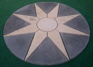 Paving sun star circle for garden patio slab stone feature.