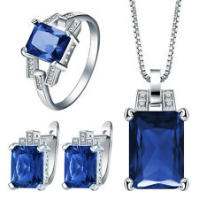 925 Silver Sterling Ruby Sapphire Gem Pendant Necklace+Earrings+Ring Jewelry Set