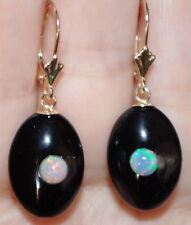 VINTAGE GORGEOUS GENUINE 14K BLACK ONYX  W ETHIOPIAN OPAL LEVER BACK EARRINGS