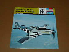 MUSTANG P-51 A MOTEUR MERLIN 1942-1945 US AIR FORCE AVIATION FICHE WW2 39-45