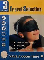 COMPACT TRAVEL SET. SOFT NECK PILLOW,EYE MASK ,EAR PLUGS.Car,Train,Airplane, Bus