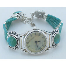ONE OF A KIND 925 Sterling Silver REAL Blue Gem Mine Turquoise Wristwatch Watch