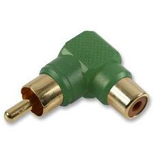 RCA Phono Right Angle 90 Degree Plug Socket Gold Adaptor Converter - Green