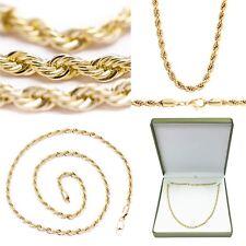 """NUOVE Donna 20"""" Twisted corda collana catena stile realistico 14k Oro Placcato 4 mm"""