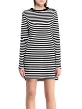 Ex TOPSHOP Black and White Stripe Bodycon Tunic Long Sleeve Size 6-14