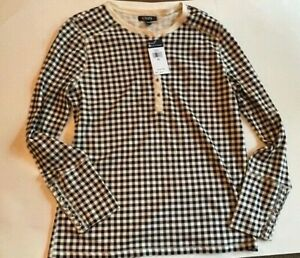 Kohls Chaps womens blue/white check henley long sleeve top size XL NWT