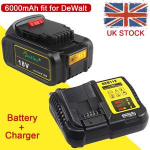 18V 6.0Ah Li-ion XR Battery Charger Set For Dewalt DCD200 DCB184 DCB182 DCF885