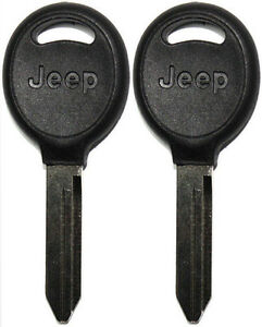 2 (Pair) NEW JEEP NON-TRANSPONDER (NO CHIP) UNCUT LOGO KEY BLANK 596508