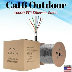 1000ft Cat6 Outdoor Ethernet Cable UV Rated 23AWG FTP Solid Direct Burial Black