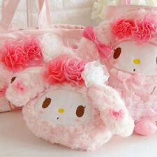 Sanrio Pink Rose Velvet Cosmetic Bag - Kawaii My Melody Makeup Pouch Tote Bag